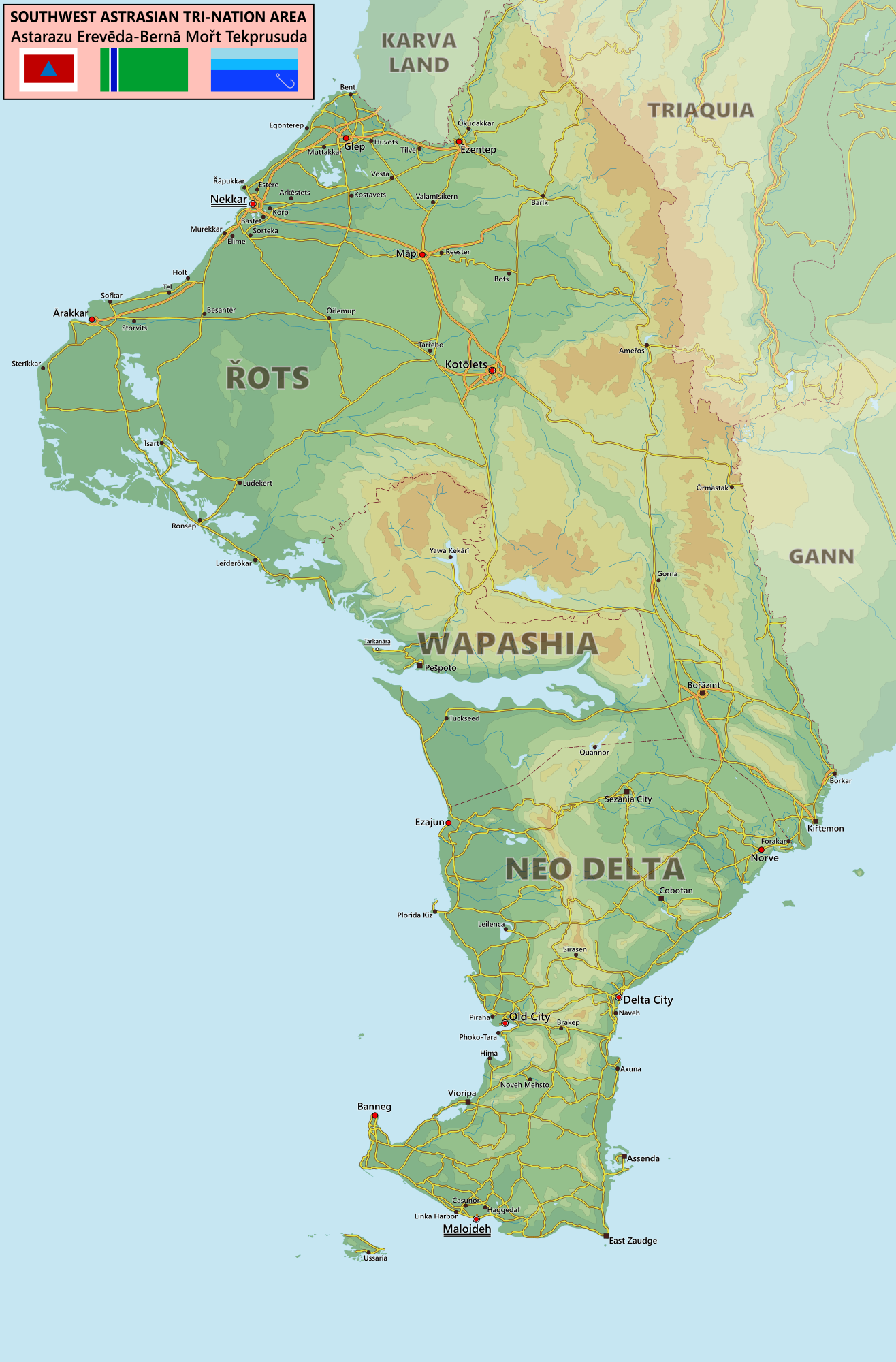 Map of the Southwest-Astrasian Tri-Nation Area